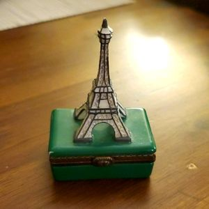 Small Green Eiffel Tower Keepsake Box Paris France
